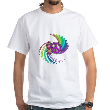 Rainbow Spin Peace White T-Shirt