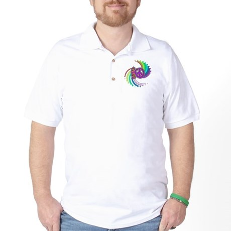 Rainbow Spin Peace Golf Shirt