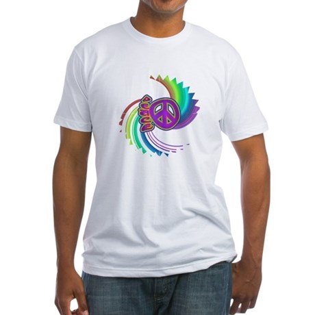 Rainbow Spin Peace Fitted T-Shirt