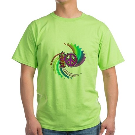 Rainbow Spin Peace Green T-Shirt