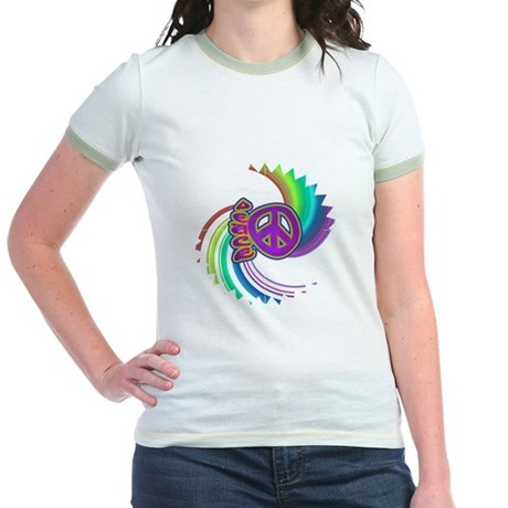 Rainbow Spin Peace Jr. Ringer T-Shirt