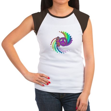 Rainbow Spin Peace Women's Cap Sleeve T-Shirt