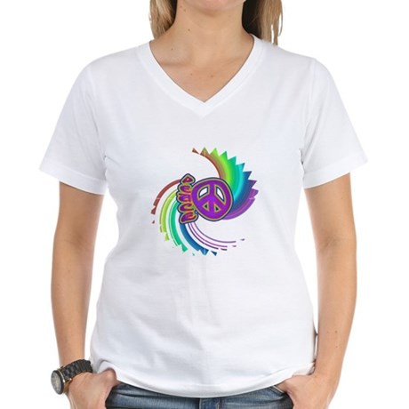 Rainbow Spin Peace Women's V-Neck T-Shirt