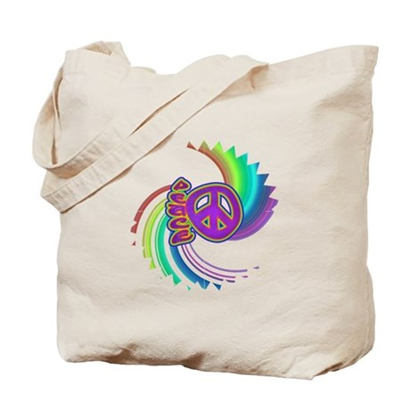 Rainbow Spin Peace Tote Bag