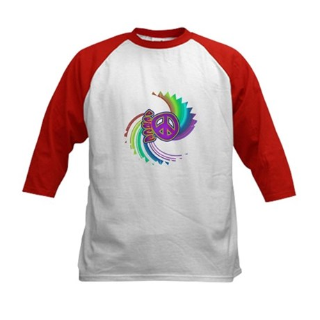 Rainbow Spin Peace Kids Baseball Jersey