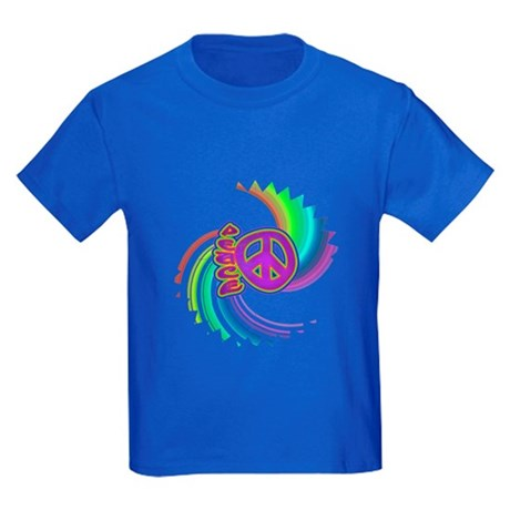 Rainbow Spin Peace Kids Dark T-Shirt