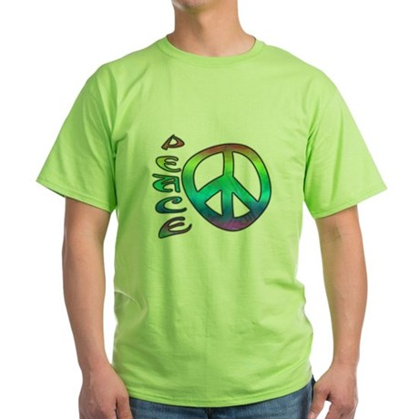 Rainbow Peace Green T-Shirt