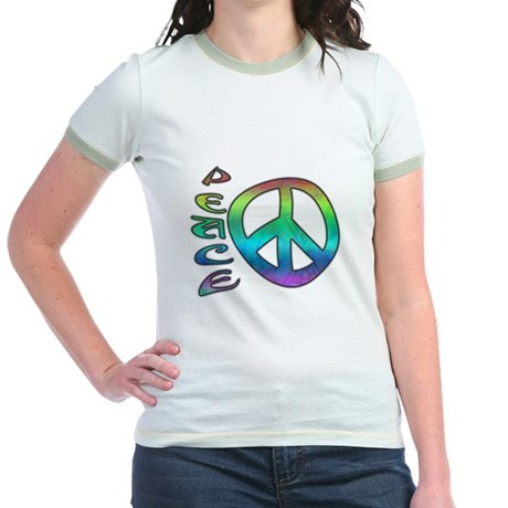 Rainbow Peace Jr. Ringer T-Shirt