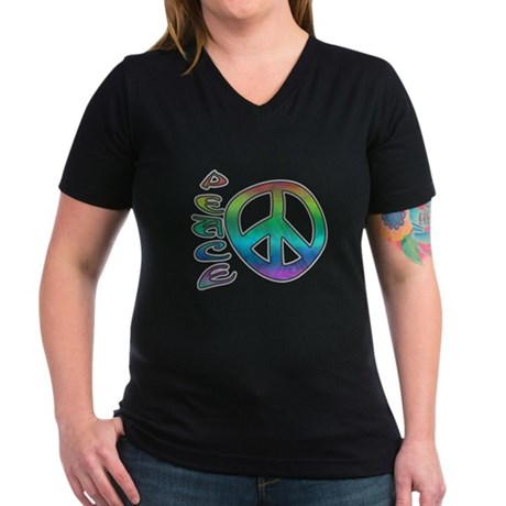 Rainbow Peace Women's V-Neck Dark T-Shirt