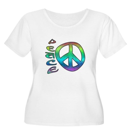 Rainbow Peace Women's Plus Size Scoop Neck T-Shirt