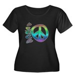 Rainbow Peace Women's Plus Size Scoop Neck Dark T-