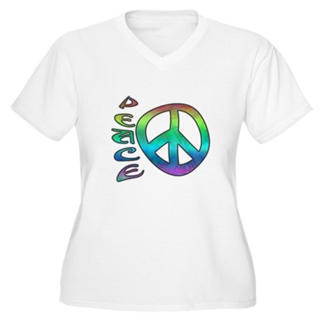 Rainbow Peace Women's Plus Size V-Neck T-Shirt