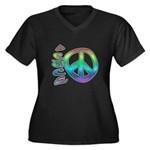 Rainbow Peace Women's Plus Size V-Neck Dark T-Shir