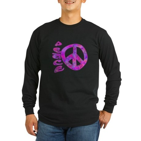 Pink Peace Long Sleeve Dark T-Shirt