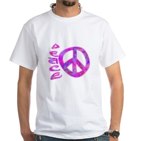Pink Peace White T-Shirt