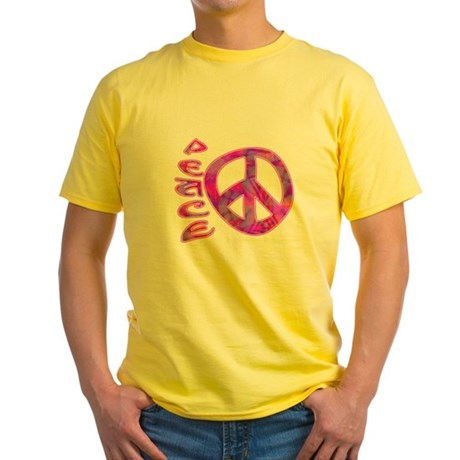 Pink Peace Yellow T-Shirt