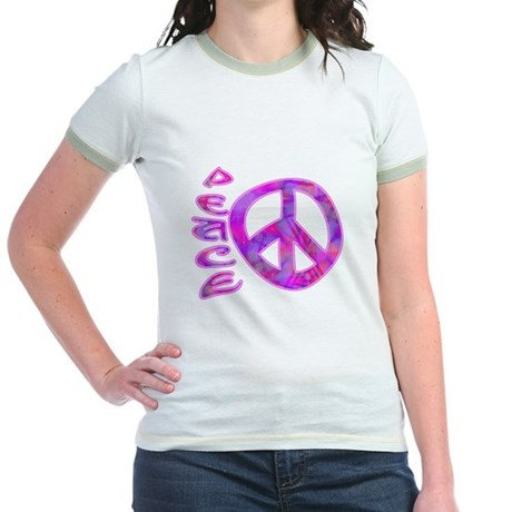 Pink Peace Jr. Ringer T-Shirt