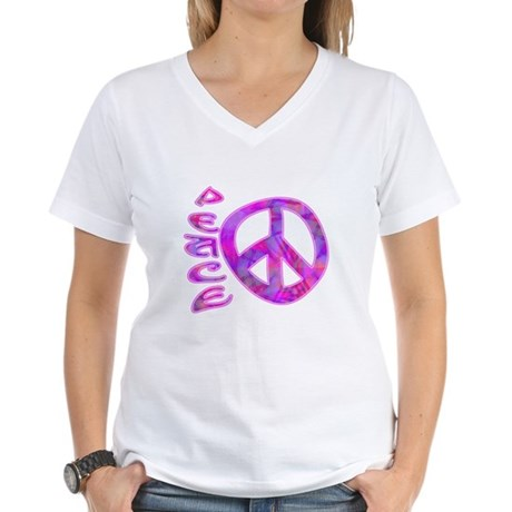 Pink Peace Women's V-Neck T-Shirt