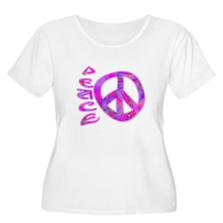 Pink Peace Women's Plus Size Scoop Neck T-Shirt