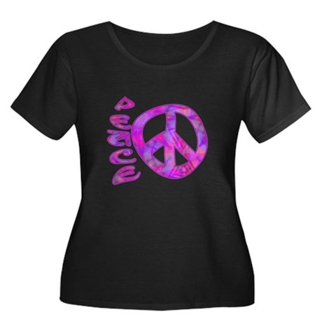 Pink Peace Women's Plus Size Scoop Neck Dark T-Shi
