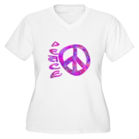 Pink Peace Women's Plus Size V-Neck T-Shirt