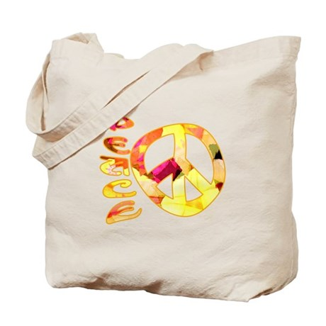 Flowery Orange Peace Tote Bag