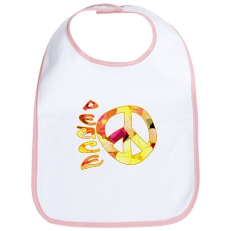 Flowery Orange Peace Bib