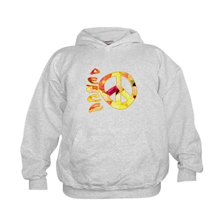 Flowery Orange Peace Kids Hoodie