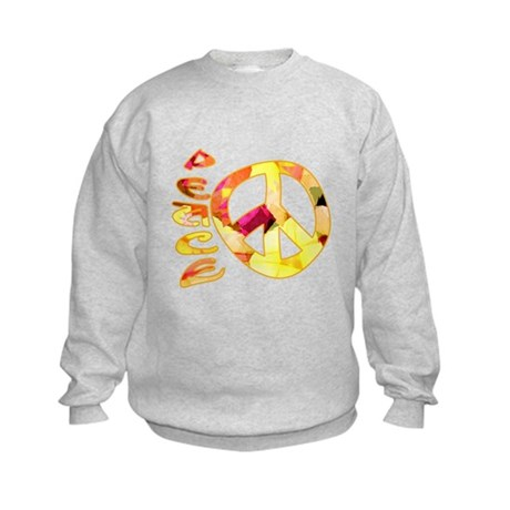 Flowery Orange Peace Kids Sweatshirt