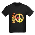 Flowery Orange Peace Kids Dark T-Shirt