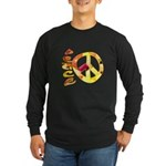 Flowery Orange Peace Long Sleeve Dark T-Shirt