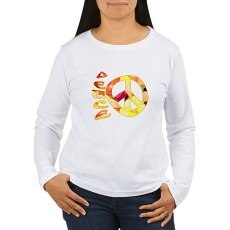 Flowery Orange Peace Women's Long Sleeve T-Shirt