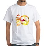Flowery Orange Peace White T-Shirt