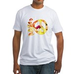 Flowery Orange Peace Fitted T-Shirt