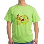 Flowery Orange Peace Green T-Shirt