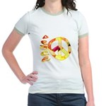 Flowery Orange Peace Jr. Ringer T-Shirt