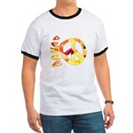 Flowery Orange Peace Ringer T