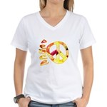 Flowery Orange Peace Women's V-Neck T-Shirt