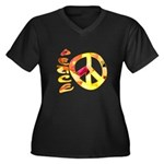 Flowery Orange Peace Women's Plus Size V-Neck Dark