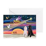 XmasMagic/2 Poodles (ST) Greeting Cards (Pk of 10)