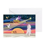 XmasStar/Poodle (ST-W) Greeting Cards (Pk of 10)