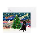 XmasMagic/Poodle (ST-Blk) Greeting Cards (Pk of 10