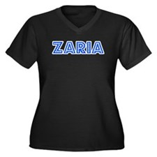 Retro Zaria (Blue) Women's Plus Size V-Neck Dark T
