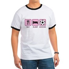 EAT SLEEP SOCCER (pink) T