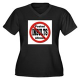 No Insults Women's Plus Size V-Neck Dark T-Shirt