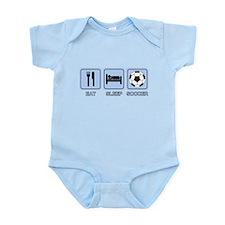 EAT SLEEP SOCCER (blue) Infant Bodysuit