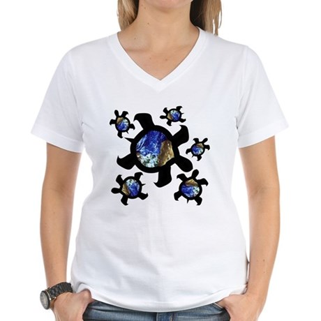 Earthly Turtles Women's V-Neck T-Shirt