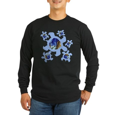 Earthly Turtles Long Sleeve Dark T-Shirt
