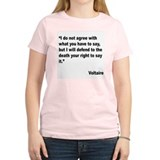 Voltaire Free Speech Quote (Front) T-Shirt