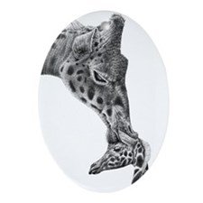 Giraffe and Calf Ornament (Oval)